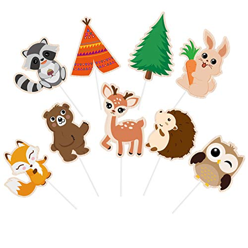 WERNNSAI Woodland Creatures Cupcake Toppers - 45 PCS Cute Forest Animals Cake Decorations Cake Toppers Picks for Baby Shower Kids Birthday Party Supplies