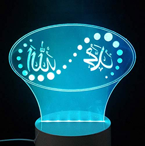 3D Illusion Night Light 7 Colori Led Vision Holiday Islam God Allah Bless Quran Arabo Modeling Desk Usb Kid Sonno Umore Colorato Creativo Regalo Telecomando