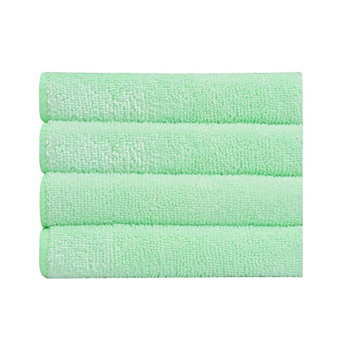 Bathla Spic & Span Multi Purpose Micro Fiber Cleaning Cloth - 340 GSM: 40cmx40cm (Pack of 4 - Light Green)