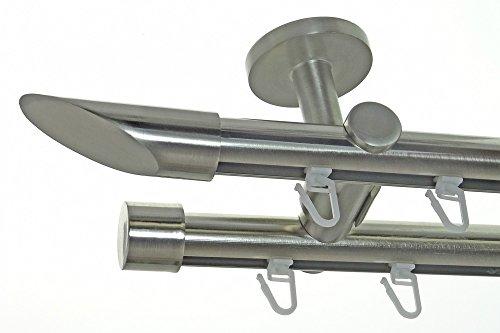 BASIT Innenlauf Gardinenstange Edelstahl Look 20mm Deckenbefestigung, 2-läufig Schräge, Länge wählbar D40 E32E30, Länge:160 cm