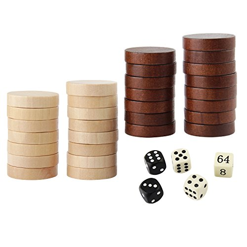 Amerous Wooden Checkers Pieces Nature Wood Backgammon Pieces with Drawstring Bag, 5 Dices Included