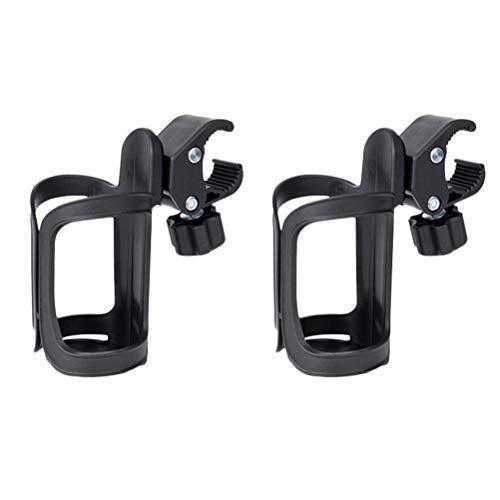 VORCOOL 2 pieces universal pram drink holder, bottle holder, coffee holder, cup holder for bicycle, buggy, wheelchair (black)