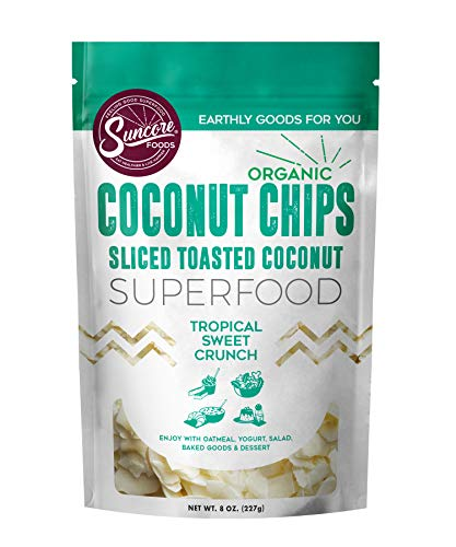 Suncore Foods - Organic Toasted Coconut Chips, 8oz bag, Vegan, Gluten Free and Non-GMO, Healthy Snacks,
