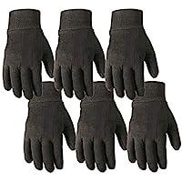 6-Pair Bulk Pack Jersey Cotton Work & Gardening Gloves