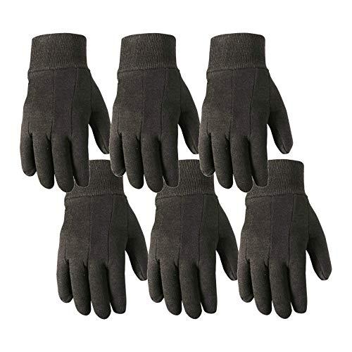 6 Pair Bulk Pack Jersey Cotton Work & Gardening Gloves, Large (Wells Lamont 501LK-WNW), Brown