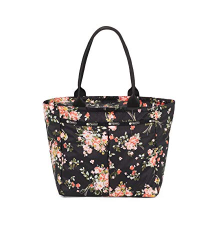 LeSportsac Garden Rose Bene Traveling Everygirl Tote, Style 4311/Color F632, Modern Multi-color Roses on Classic Black Bag (carry-on bag)