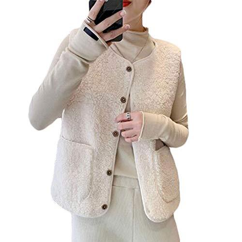 Gilet sans manches matelassé léger en coton Gilet d'agneau en peluche Veste Cardigan vêtement Automne Hiver simple boutonnage Femmes Manteau chaud Activités intérieur ou extérieur Coupe-vent Body Warm