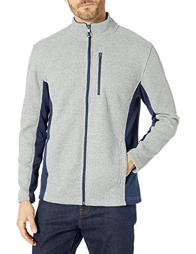 IZOD Men's Advantage Performance Full Zip Fleece Jacket, Light Grey Heather, X-Large