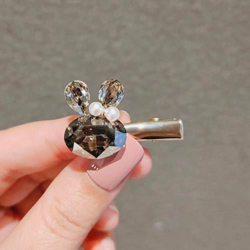 EWFD Clip Tocado Lindo Conejo Horquilla imitación Cristal pequeño Pico de Pato Clip Chica Lado Clip Flequillo Horquilla Clip Superior Silvergray