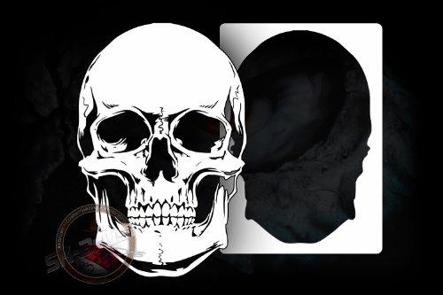 Totenkopf Schädel Profi Airbrush Schablone - Stencil Totenkopf Skull
