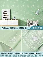 壁紙シートはがせる 壁紙 壁紙シール はがせる おしゃれ 簡単ステッカー純色の粘着壁紙防水・防湿壁紙-タンポポ-フレッシュグリーン_60cm * 5m