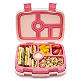 Freshmage Kids Bento Lunch Box, Durable Leakproof 5-Compartments Lunch Containers for Kids Ages 3 to 7, BPA-Free and Microwave Dishwasher Safe Bento Box for Daycare Boys and Girls (Pink)