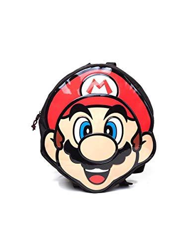 Bioworld Nintendo Super Mario Bros, zaino a forma di faccia (Bp140171Ntn), zaino casual, 38 cm, 10 l, rosso