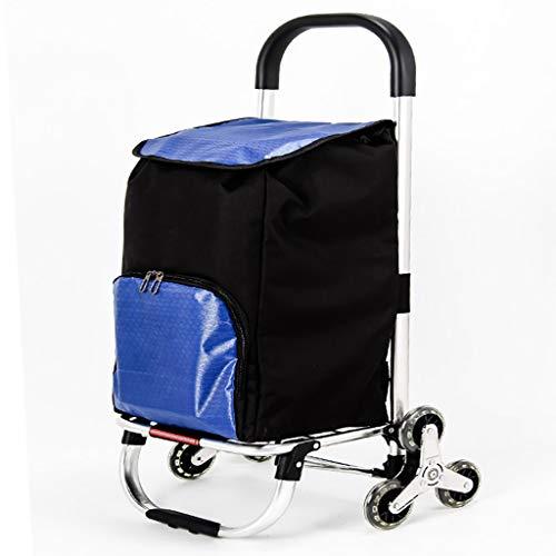 Carritos de la compra Estructura de aleación de aluminio, tela Oxford, 6 ruedas carro de compras, plegable y portátil, subir escaleras carro, carro de equipaje, ruedas silenciosas, con escaleras que s