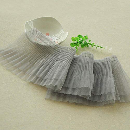 Dobles capas de tul plisado de encaje de 12 cm de ancho, puños de cuello Fabirc, ribete de cinta para vestir, ropa de bricolaje accesorios de costura gris