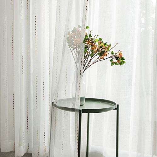 Geborduurde Voile Gordijnen Stripe Semi Transparante Linnen gordijnen vitrages Pencil Plooi Tulle Gordijn 2 Panelen wonen slapen Balkon,300X270cm