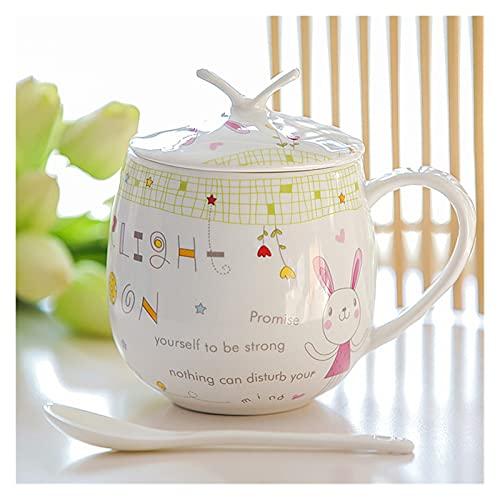 Taza para beber Taza de café de cerámica con tapa elegante de la tapa y la cuchara China Taza de café de China conjuntos 450ml Ceramic Ceramic Simple Leche Tazas de la leche Regalos ( Farbe : 08 )