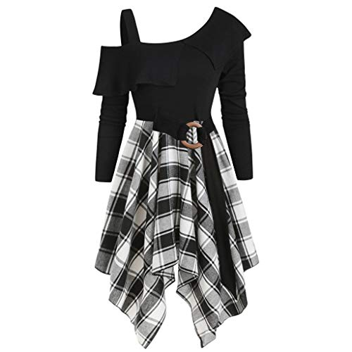 FRAUIT Ladies Plaid Patchwork jurk 50s Vintage Rockabilly jurk Jersey zomerjurk Avondjurk Piebo rooster A-Line Partyjurk Up Cosplay Kostuum Punk middeleeuwse schoudervrije cocktailjurk