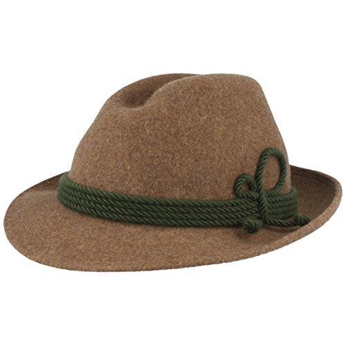 Breiter Herren Trachten-Hut | Filz-Hut | Herren-Hut – Werdenfelser – Handgemacht aus 100% Wolle mit grüner Kordel-Garnitur & Echtleder Schweißband