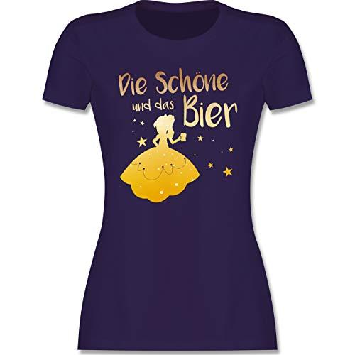 Typisch Frauen - Die Schöne und das Bier - S - Lila - blaues t-Shirt lustig - L191 - Tailliertes Tshirt für Damen und Frauen T-Shirt
