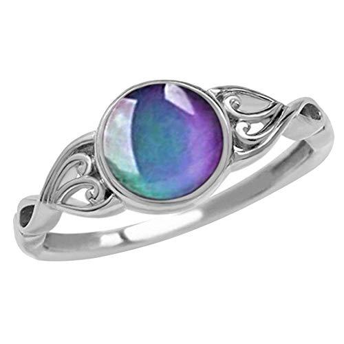 Lumon Stimmung Ring, Damen Temperatur Farbwechsel Herzförmige Ring, Farbwechsel Stimmung Ring Creatived Ring Schmuck für Damen Damen Mädchen (8)
