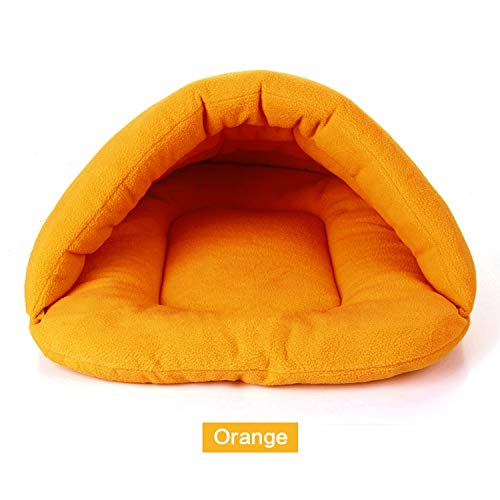 Old street Soft Polar Fleece Dog Beds Winter Warm Pet Heated Mat Small Dog Puppy Kennel House for Cats Sleeping Bag Nest Cave Bed 6 Colors,Orange,M