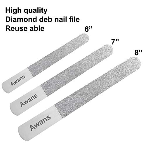 Awans Stainless Pedicure, Manicure Diamond Deb Nail Files, Blacks Files, Traditional Nail Files, Prevention of ingrowing Toenails (6'+ 7' + 8' Diamond Deb Files)