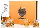 calliva von Whisky Karaffe und Gläser Set, Bleifreie Kristall Whiskey Dekanter 650 ml mit 4 Glas 210 ml, Hochwertiges Gläser für Scotch, Bourbon, Cocktails, Cognac, 5-teiliges, Geschenkset Box