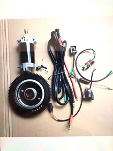Kit de arranque eléctrico de 25 HP compatible con Yamaha y más de 30 HP 2 tiempos 496 CC fueraborda motor de arranque de volante de carga de la bobina del interruptor