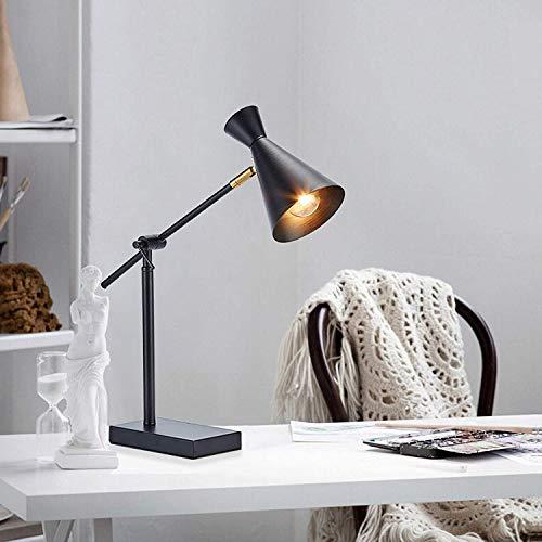 LOKKRG Lámpara de Mesa de Metal para Dormitorio Lámpara de Lectura de Estudio de cabecera E27, Lámparas de Mesa industriales Retro, Lámpara de Mesa de Noche, Lámpara de Escritorio Negra Ajustable -