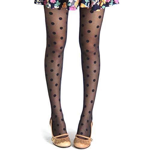 Leikance Enge Strumpfhose für Damen, Vintage, gepunktet, Spitze, sexy, schwarz, eng, ultradünn, Netzstrümpfe