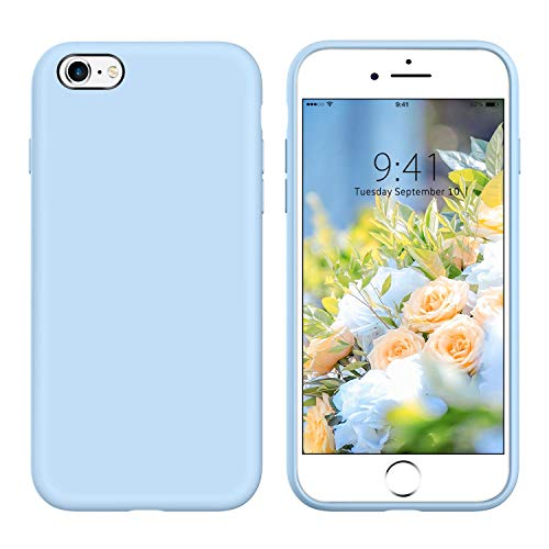 YINLAI iPhone 6S Case,iPhone 6 Case Liquid Silicone Slim Fit Soft Rubber Cover Non Slip Grip Shockproof Protective Hybrid Bumper Durable Phone Case for iPhone 6/6S,Light Blue