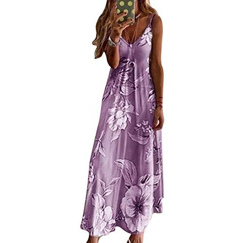 Fanville dames zomer strandjurk maxi-jurk riempje vakantie floral long boho caftan jurk voor vrouwen mouwloze V-hals losse maxikjurk bohemian 5XL lila
