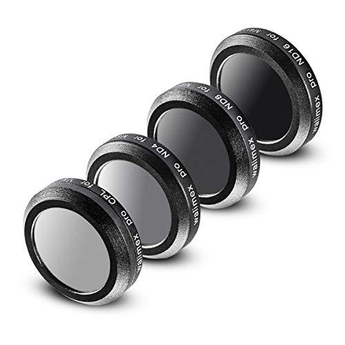 Walimex Pro Drohnenfilter Set DJI Mavic 2 Zoom – Filter Polfilter CPL, Graufilter ND 4, ND 8, ND 16, ideal für Landschaftsaufnahmen, optisches Glas, wasserdichter Aluminiumrahmen, schwarz