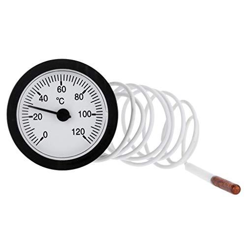 XIANZI Termómetro de esfera con indicador de temperatura capilar de 0 a 120 ℃ de agua y aceite con sensor digital de 1 m, manómetro digital de 1/4 Npt, manómetro de presión de neumáticos