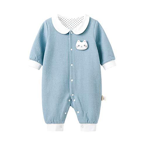 pureborn Baby Boy Collared One-Piece Jumpsuit Fall Winter 2 Layers Cotton Blue Kitten 0-3 Months