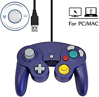 Mekela 5.8 feet Classic USB Wired NGC Controller Gamepad resembles Gamecube for Windows PC MAC ( USB Purple)