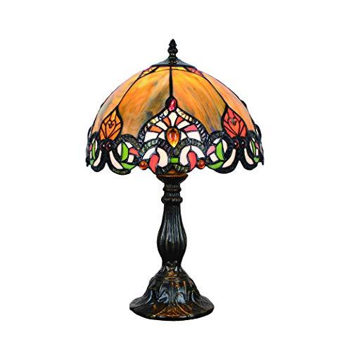 Tokira Gele Tiffany Stijl Tafellamp 12 Inch Groot, Retro Gebrandschilderde Woonkamerlamp, Prachtig Art Deco Nachtkastje Slaapkamer Gekleurd Nachtlampje, Gratis Gloeilamp