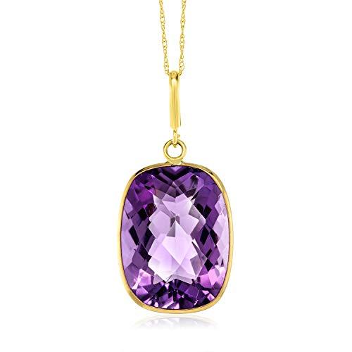 Purple Amethyst Pendant Necklace by Gem Stone King