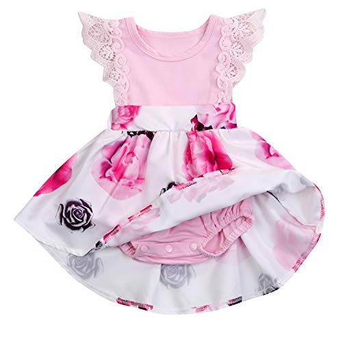 HAPPYMA Infant Toddler Baby Girl Dress Floral Lace Dresses Ruffle Flying Sleeve Skirt Outfits (Pink # Romper, 0-3 Month)