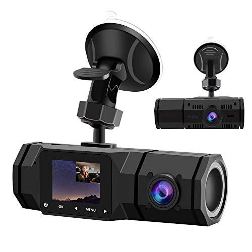 2021 Upgraded Dual Dash Cam, FHD 1080P Front and Interior Dual Dash Cameras IR Night Vision Dashcam for Car/ Taxi Loop-Recording, G-Sensor& Parking Mode