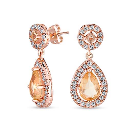 bling jewelry orecchini Moda Simulato Rosa Morganite AAA CZ Halo A Pera Lacrima Goccia Orecchini Pendenti Per Donne Rose Ottone Placcato Oro