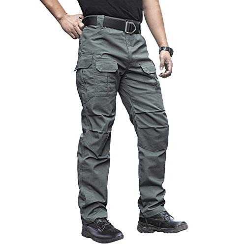 NAVEKULL Men's Outdoor Tactical Pants Rip Stop Lightweight Waterproof Military Combat Cargo Work Hiking Pants Army Green