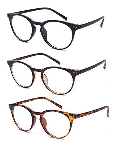 ALWAYSUV Lesebrillen Vintage inspiriert Lesehilfe kleine Nägel Runde 3 Pack Federscharniere Rahmen Sehhilfe Schwarz Braun und Leopard