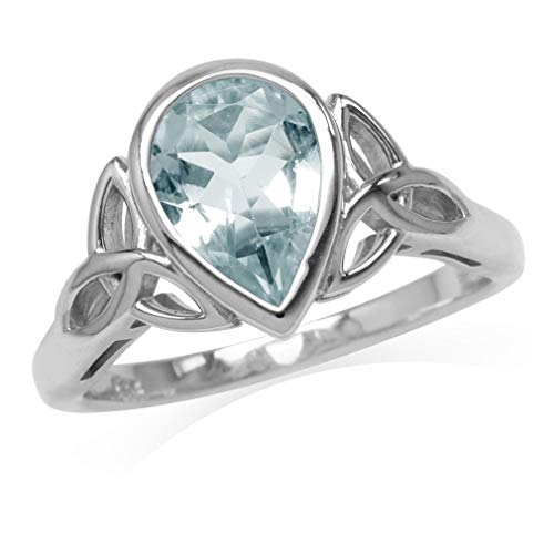 Silvershake 1.43ct. 10X7mm Genuine Pear Shape Blue Aquamarine 925 Sterling Silver Triquetra Celtic Knot Ring Size 6