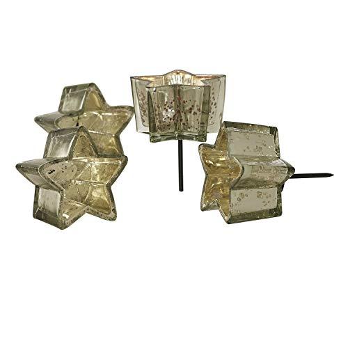 Loberon Windlicht 4er Set Bernice, Weihnachtsdeko, Glas, Metall, H/Ø ca. 11/9 cm, Silber