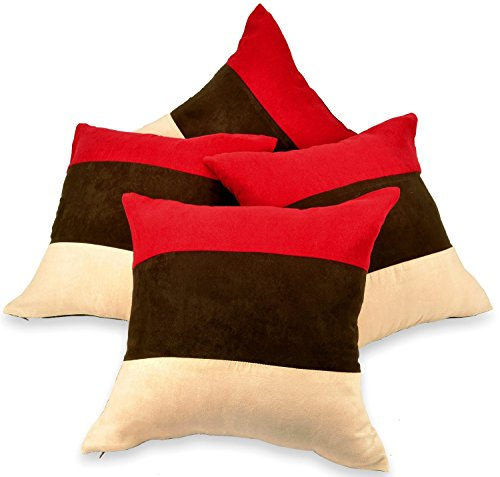 Set of 4 Red, Brown & Cream Faux Suede 18' Cushion Covers