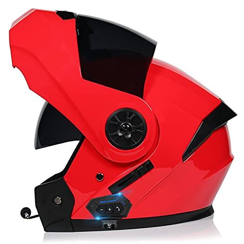 Bluetooth Casco Moto Hombre Mujer, Modular Casco de Motocicleta Integrado con Doble Visera para Motocicleta Scooter, ECE Homologado Casco de Moto para Adultos (Color : B, Size : (XL=61-62CM))