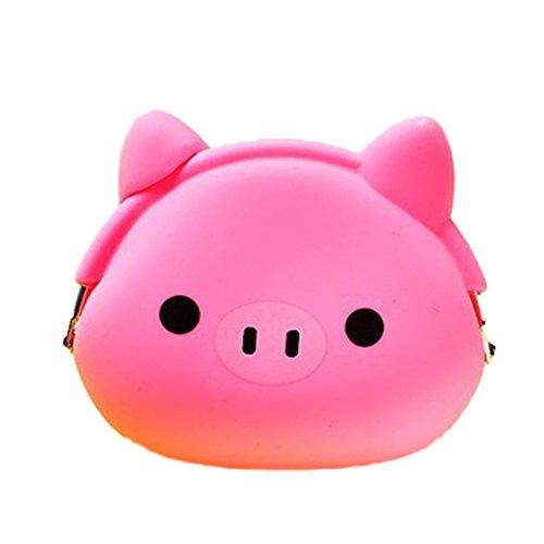 Niedliche Aufbewahrungstasche Geldbeutel Mini-Portemonnaie Geldbörse Münzbeutel Schlüssel Etui Kopfhörer Box Weiches Silikon Süße Tiermotive Rosa Schweinchen