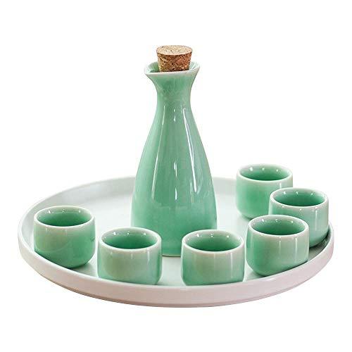 SBDLXY Juego de Sake Juego de Tazas de Sake japonés Diseño Tradicional Pintado a Mano Cerámica de Porcelana Tazas de cerámica Copas de Vino artesanales, Tazas de cerámica con Textura de Esmalte bla